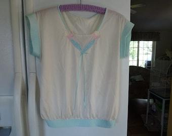 Vintage Nylon Pajama Top with Appliques.