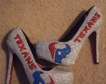 Texans glitter heels handmade