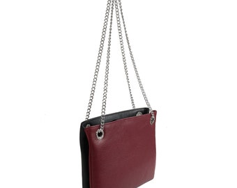 Leather Crossbody Bag, Marsala Black Leather Shoulder Bag, Women's Leather Cross body Bag, Leather bag KF-622