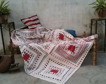 Khadi Log Cabin Quilt, block print, hand stitch