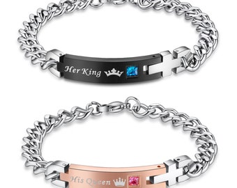 His Queen Her King Stainless Steel Matching Bracelets for Couple (2pcs)