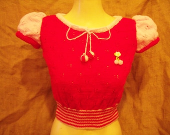 Cute,HAND-KNITTED from 1930's/1940's knitting pattern,puff sleeve top in red/pink 36''-42'' bust!Rockabilly!Vintage!pin-up