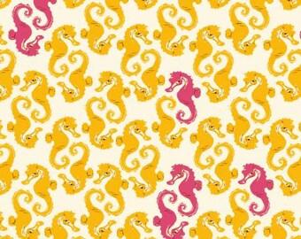 Mendocino Cream/Yellow Seahorses by Heather Ross for Windham Fabrics