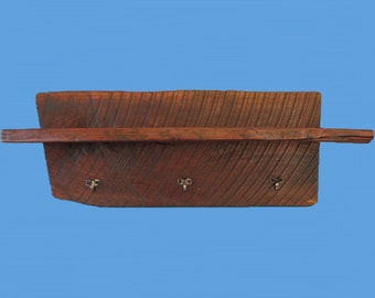 Old Walnut Wood Wall Shelf OR Mantle Shelf With Hanger, Handmade-60