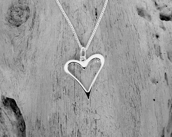 Sterling silver funky open heart necklace
