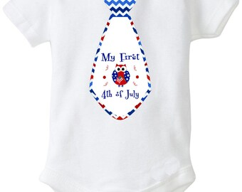 My first 4th of July tie onesie  1st forth of july tshirt  baby boy tie shirt