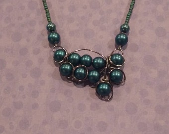 Blue pearled necklace