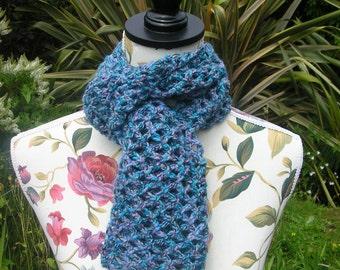 Pretty Blue Lace Effect Crochet Scarf