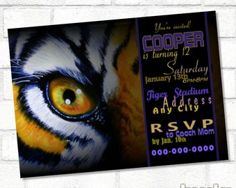 LSU Tiger Invite Tiger Invitation Tiger Invite Football Birthday Printable Party LSU Tigers Birthday Baby Shower Louisiana Purple and Gold
