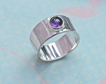 Silver Ring - Handmade Amethyst Ring - Textured Silver Band Ring - Sterling Silver Ring - Birthstone Ring - Modern Style