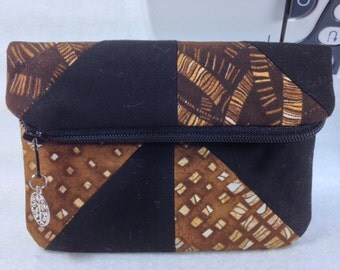 Foldover Clutch, Zippered with Magnetic Snap Closure, Machine-Pieced Pinwheels, Different Pattern & Shade of Brown/Gold on Either Side