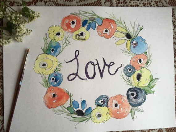 Original Watercolor and Ink Flower Wreath  Painting, Love Painting