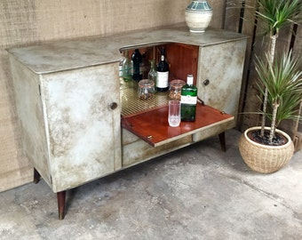 SOLD OUT** Vintage Retro Mid-Century Contemporary Hand-painted Industrial Distressed Shabby Grey Drinks Cabinet Sideboard