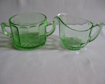 Creamer and Sugar Bowl Elegant Glass Green Made in USA