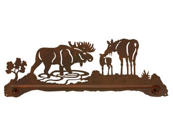 """Moose Scenic Rustic Towel Bar 18"""" Hand Towel and 29"""" bath Towel options avalable"""