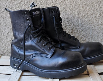 CULT 90's grunge combat leather boots, steel toe!