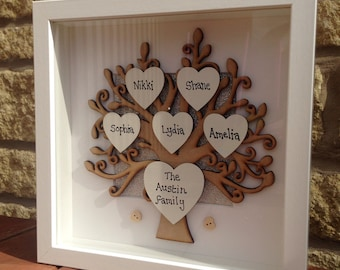 Personalised wooden family tree frame box frame, gift for Mum or Dad, personalized family tree frame