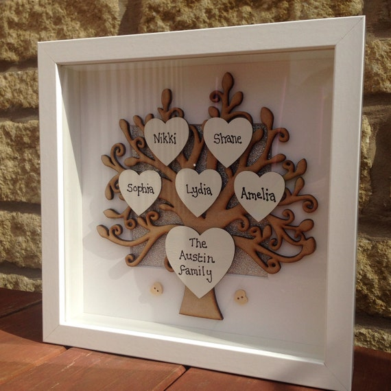Personalised Wooden Family Tree Frame Box Frame Gift For Mum
