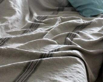Linen Bed Cover, Vintage Grainsack,rustic heavy linen bedding, linen throw, king size linen bedding,coverlet,striped linen, grainsack
