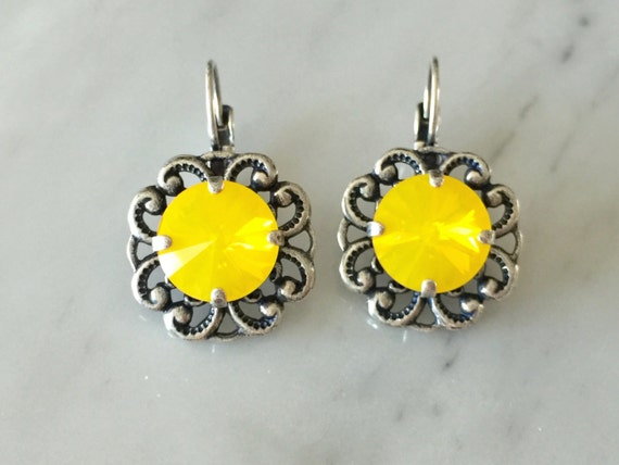 Swarovski Yellow Opal Crystal Leverback Earrings