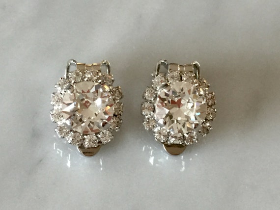 Swarovski Crystal Halo Clip On Earrings, Silver