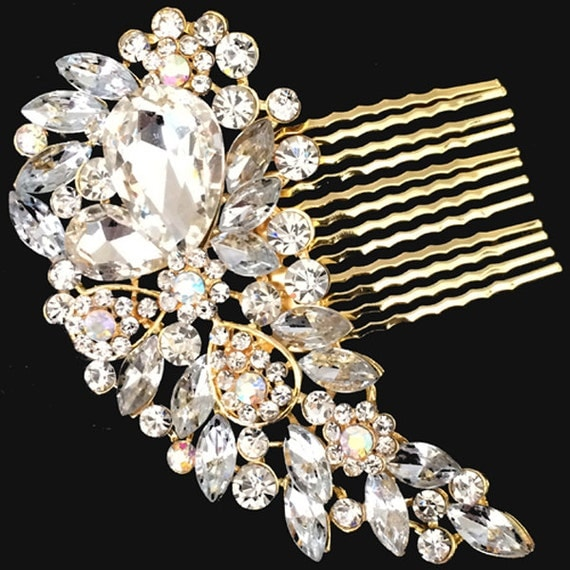 Elegant Bridal Set Heavy Gold Plated Diamante Crystal: Gold Clear Vintage Style Hair Comb Brooch Encrusted Crystals