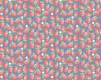 SALE!! 1 Yard Into the Garden by Amanda Herring for Riley Blake Design- 5593 Navy Strawberry