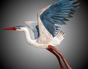Blue Heron Wall Sculpture
