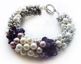"Bracelet ""Primrose"" with amethyst and pearls"