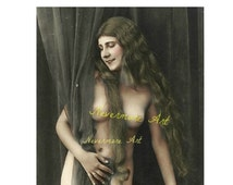 On Sale- Mature Erotic Art Woman Photo Lady Risque Nude Instant Download Vintage Altered Art Printable Print  Erotic Photography Photo