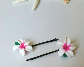 Flower Hair Clips, Hawaiian Flower Hair Accessories,  Plumeria Flower Pins, Beach Mermaid Hair Clip  - SET OF 2