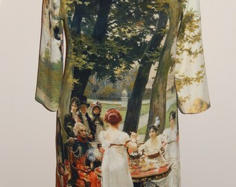 Garden scene dress, nostalgic, romantic, colorful, print, size EU 40 (USA 10 - UK 12), cotton, tricot