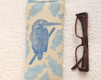 Hand block printed glasses case: Kingfisher and fishes.