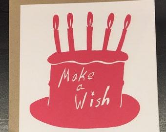 Birthday card, make a wish, cake