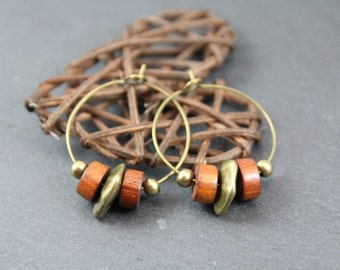 smart ethnic hoop earrings, bronze, bayong wood