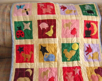"""Colorful Animal Baby Blanket, Applique and Quilted - 40"""" by 32"""" - Cute Animal Appliques in Each Square - READY TO SHIP"""