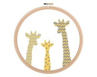 Giraffes - Cross stitch pattern, Giraffe Pattern, Giraffe Cross Stitch, Baby Giraffe Art, Animal Cross Stitch