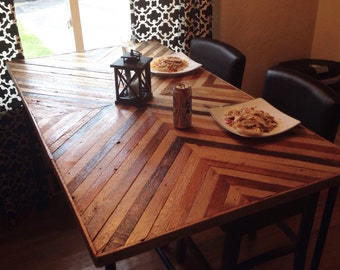 Large Reclaimed Lath Wooden Dining Table with Steel Metal Base