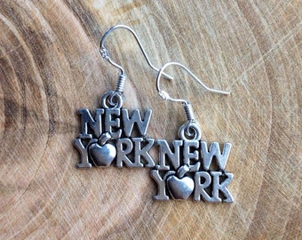 New York City Big Apple Manhattan Charm Earrings Silver Earrings
