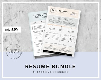 Resume Bundle 30% OFF   Creative Resume Template Pack   Instant Download