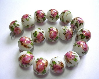 10mm White Green and Pink Lampwork Beads with Gold Foiling 15 Beads Pink Flowers with Green Painted Porcelain Swirls and Pink Flowers