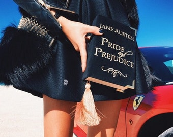 Velvet book clutch PRIDE and PREJUDICE by Jane Austen - book clutch - book purse - 21 x 13 cm - black , blue, beige color (multicolor)