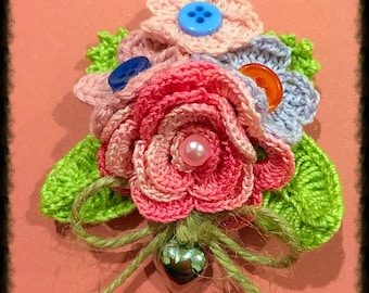 Hand crochet bouquet brooch