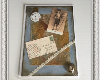 Vintage/Gentleman/Chap Theme Handcrafted Greetings Card (Blank)  UNIQUE DESIGN