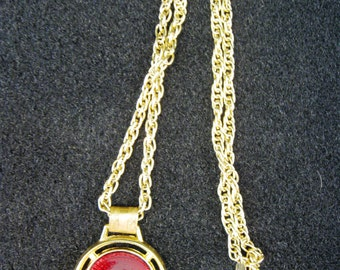 Vintage Red Enamel Disc on Gold Tone Pendant Necklace by Park Lane