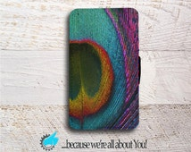 Samsung Wallet Phone Case -Peacock Feather Phone Case for Samsung Galaxy S4 S5 S6 S7 Edge and Mini -Can add Monogram or Name