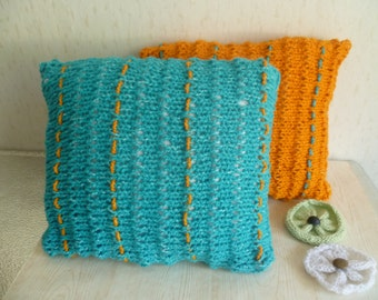 """Flower garden colors, Set of 2 Decorative cover pillows, Hand knitted pillow cover, Handmade flowers, 16"""" - 20''"""