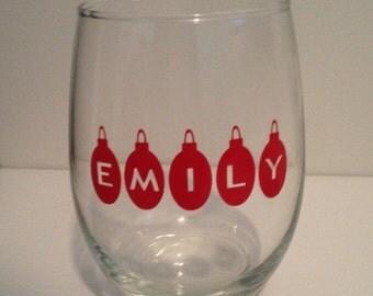 Christmas Wine Glass - Christmas Glass, Personalized Christmas Wine Glass, Christmas Pint Glass, Christmas Pilsner Glass Christmas Stem