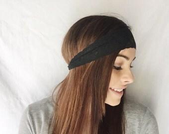 Black Lace Stretch Headband Hair Accesories
