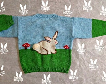 Baby sweater bunny, hand knitted, Free shipping